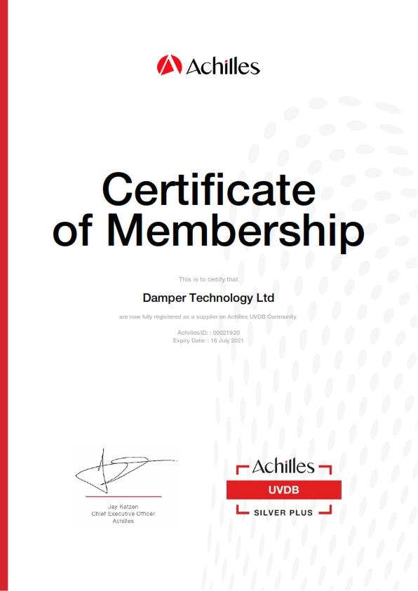 DTL Achilles UVDB Certificate